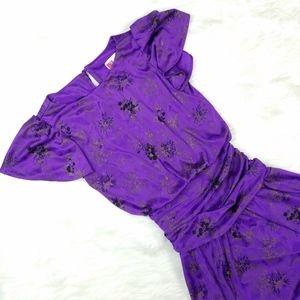 Vintage Purple Floral Open Back Flowy Midi Dress